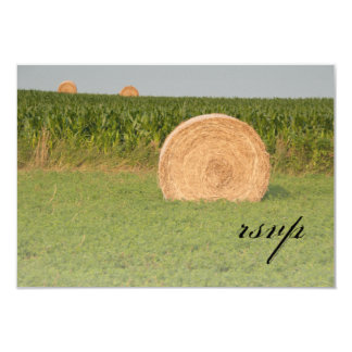 "Farm Hay Bales Country Wedding RSVP 3.5"" X 5"" Invitation Card"