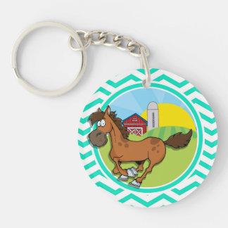 Farm Horse Aqua Green Chevron Acrylic Key Chains