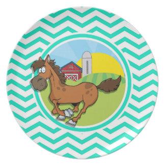Farm Horse Aqua Green Chevron Dinner Plate