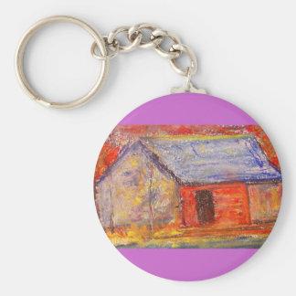farm house basic round button keychain