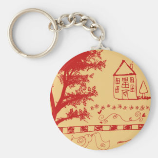 Farm House Doodle Notebook Basic Round Button Keychain