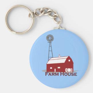 Farm-House-large Basic Round Button Keychain