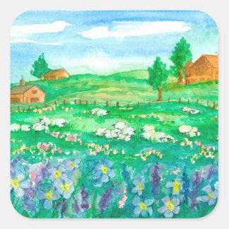 Farm House Sheep Square Sticker