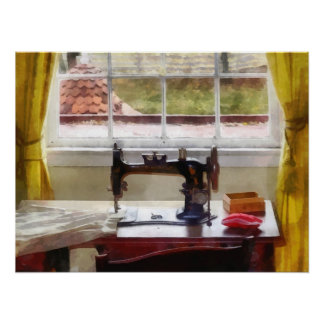 Farm House With Sewing Machine Poster