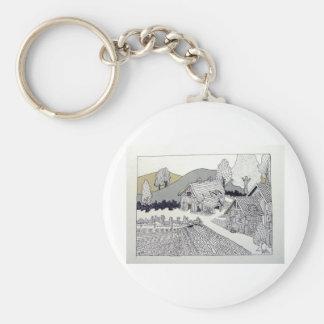 Farm in Vermont by Piliero Basic Round Button Keychain