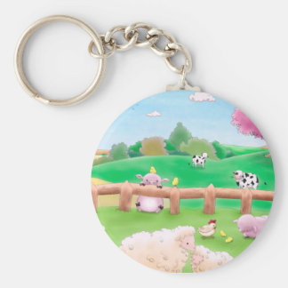 Farm Key Ring Basic Round Button Keychain