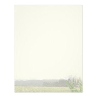 Farm landscape with maize plants blank letterhead