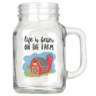 Farm Life  Mason Jar, with Handle (20 oz) Mason Jar