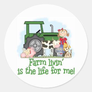 Farm Livin' (Girl) Classic Round Sticker