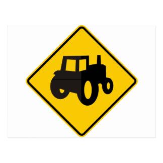 Farm Machinery Traffic Highway Sign Postcard