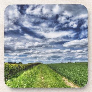 Farm Path Skyscape HDR Drink Coaster