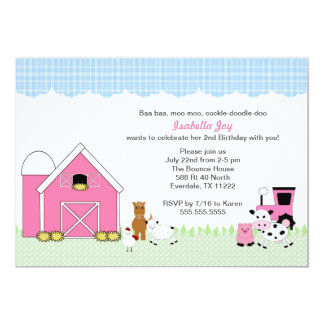 Farm Petting Zoo Girl Birthday Party Invite