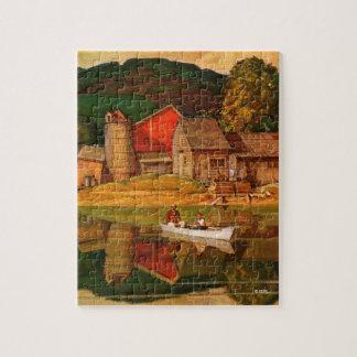 Farm Pond Landscape by Mead Schaeffer Puzzle