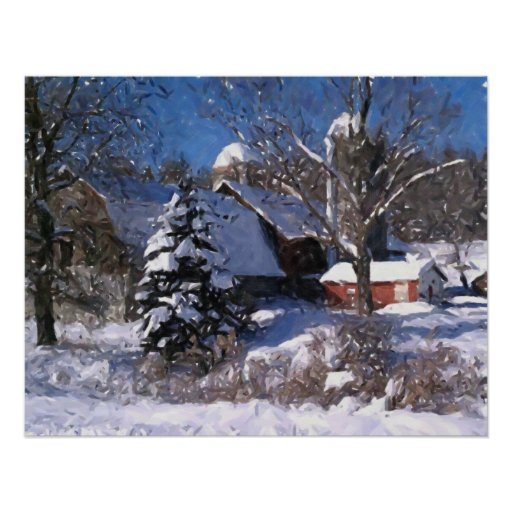 Farm & Red Barn In Snow Winter Print