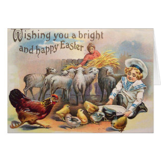 Farm Rooster Easter Chick Feed Lamb Hay Greeting Card