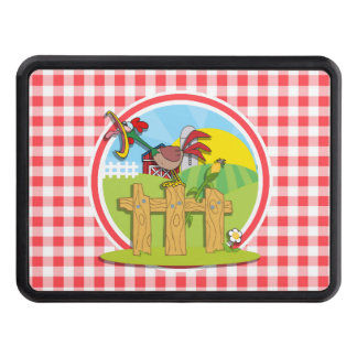 Farm Rootster; Red and White Gingham Hitch Cover