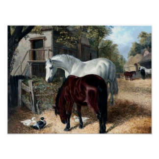 Farm Scene with Horses Poster