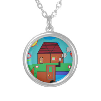 farm silver plated necklace