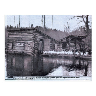 Farm Spring Flood 1920s Postcard