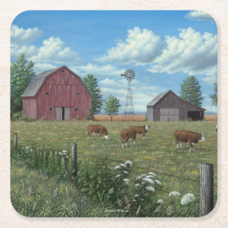 Farm Square Paper Coaster