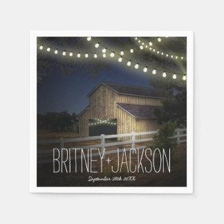 Farm String Lights Rustic Barn Wedding Napkins Paper Napkins