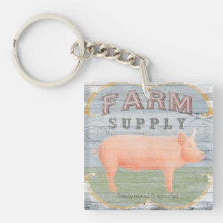 Farm Supply Double-Sided Square Acrylic Keychain