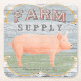 Farm Supply Square Paper Coaster