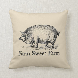 Farm Sweet Farm Vintage Style Pig Throw Pillow