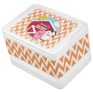 Farm Theme Baby Shower Orange and White Chevron Igloo Can Cooler