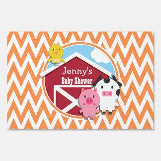 Farm Theme Baby Shower Orange and White Chevron Yard Signs
