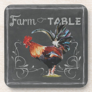 Farm to Table Rooster Drink Coaster