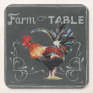 Farm to Table Rooster Square Paper Coaster