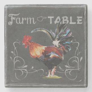 Farm to Table Rooster Stone Beverage Coaster