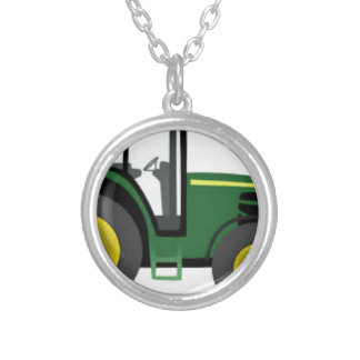 Farm Tractor Silver Plated Necklace