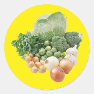 Farm Vegetables Round Stickers