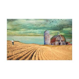 Farm Wheat field with Barn Canvas Print