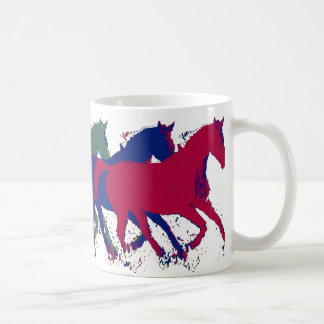 farm wild horses running coffee mug