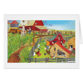 farm with chickens card