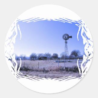 Farm with Windmill Round Sticker
