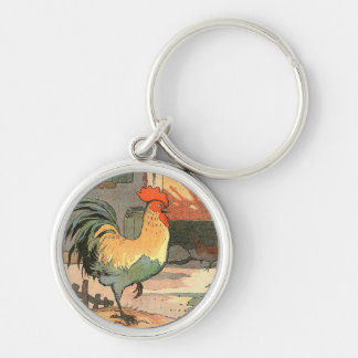 Farm Yard Rooster Silver-Colored Round Keychain