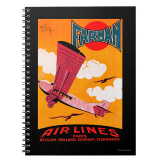 Farman Brothers Airlines F-170 Monoplane Poster Spiral Note Book
