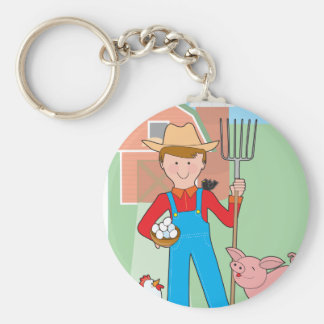Farmer and Pig Basic Round Button Keychain