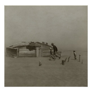 Farmer and Sons Walking in a Dust Storm Poster