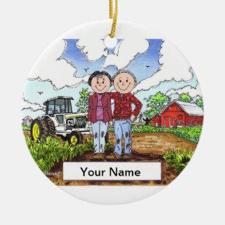 Farmer Couple - White Tractor Ceramic Ornament