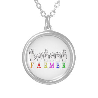 FARMER FINGERSPELLED ASL NAME SIGN SILVER PLATED NECKLACE