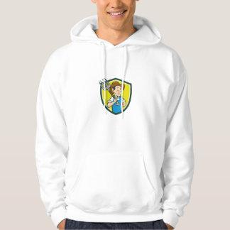Farmer Holding Pitchfork Shoulder Crest Cartoon Hoodie