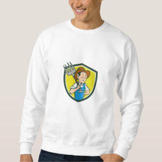 Farmer Holding Pitchfork Shoulder Crest Cartoon Sweatshirt