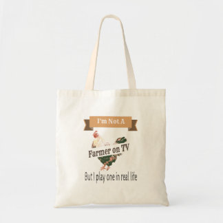 Farmer in Real Life Funny Chicken Tote
