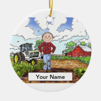 Farmer - Male, White Tractor Ceramic Ornament