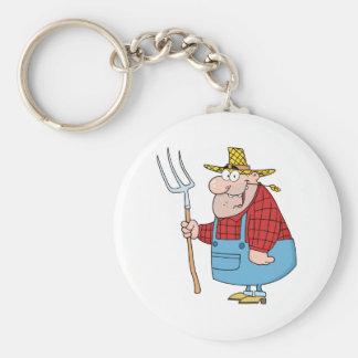 Farmer Man Carrying A Rake Keychain